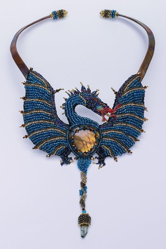 Bead-embroidered Dragon Necklace by BeadedNature