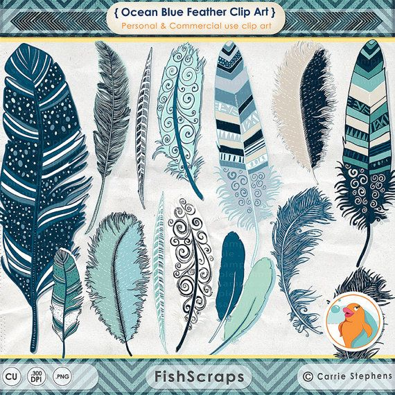 Feather Clip Art - Indian Summer - Aztec Digital - Tribal ClipArt - Feather Illustration - PNG Graphics Download - Ocean Blue, Turqoise