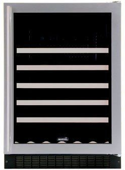 """Marvel 61WCMBBGR by Marvel. $1399.00. 24"""" Wine Cellar with 45-Bottle Capacity Including Magnums, 5 Extendable Racks, Fixed Wine Cradle, Inclined Display Rack, Electronic MicroSentry Controls and Right Hinge Door Opening: Black Frame Glass Door"""