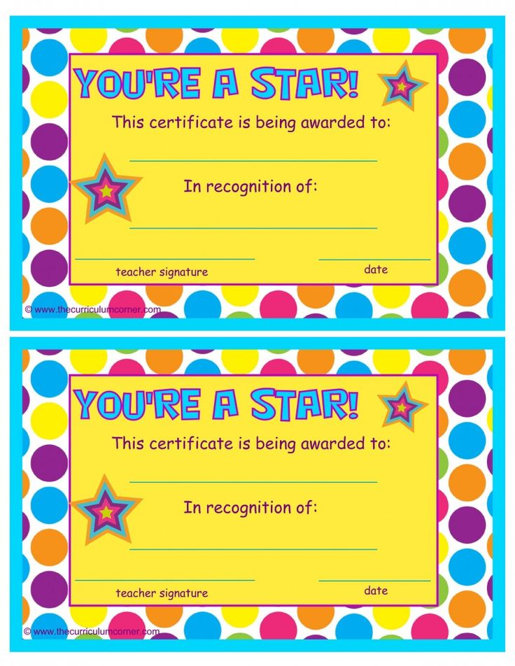 You're a Star End of the Year Certificate free from The Curriculum Corner