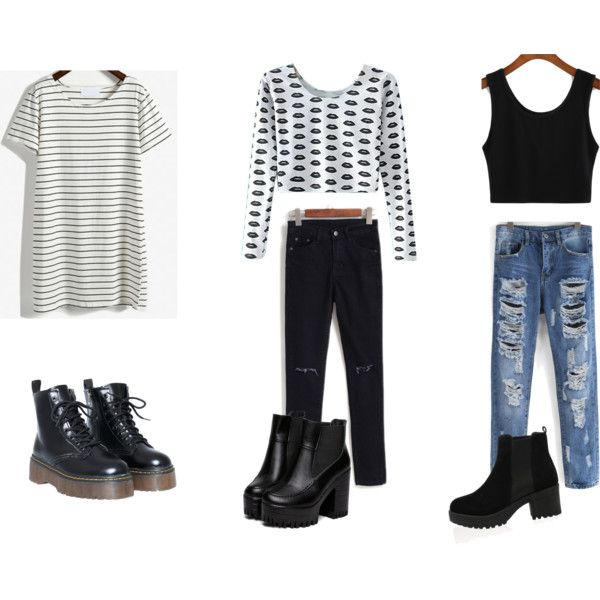 Black boots, outfits by valth on Polyvore featuring polyvore, fashion and style