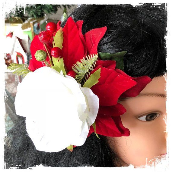 Poinsettia And White Rose Hairclip Pinup Holiday Hair Flower 618 Flowers In Hair Holiday Hairstyles White Roses