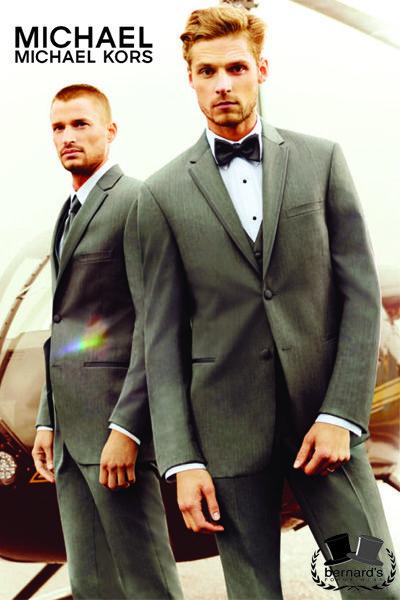 Bernard's Formalwear - Michael Kors Grey Affection #tuxedo! Super 130's Venetian Wool, Modern Fit, Satin Trimmed 2 button notch. #michaelkors #bernardstux