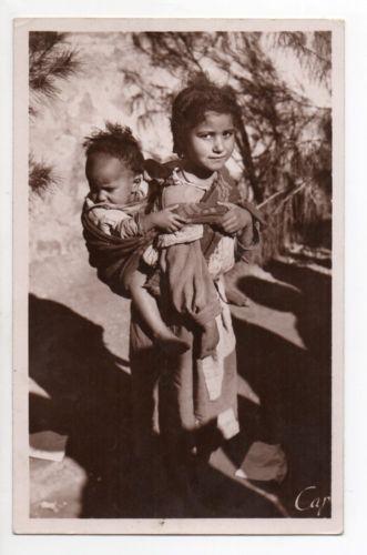 Photo enfants algerien pendant la colonisation fançaise -ALGERIE Algerie française Enfants jeune mauresque et son frere cachet militaire