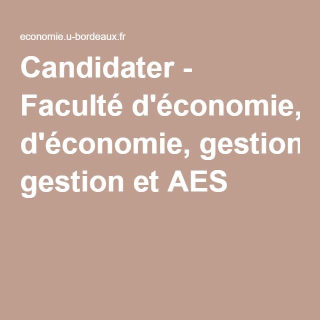 Candidater - Faculté d'économie, gestion et AES