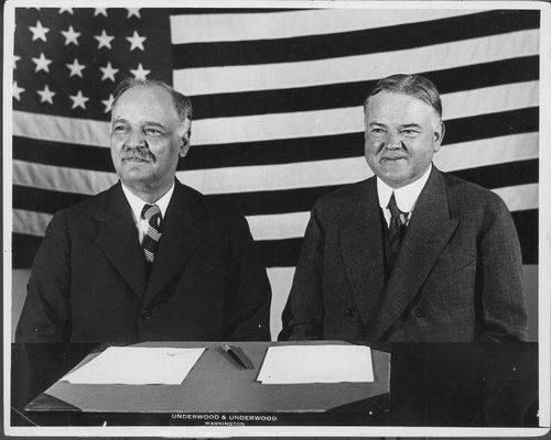 President Herbert Hoover, 31st president of the United States, with Vice President Charles Curtis of Kansas, circa 1928