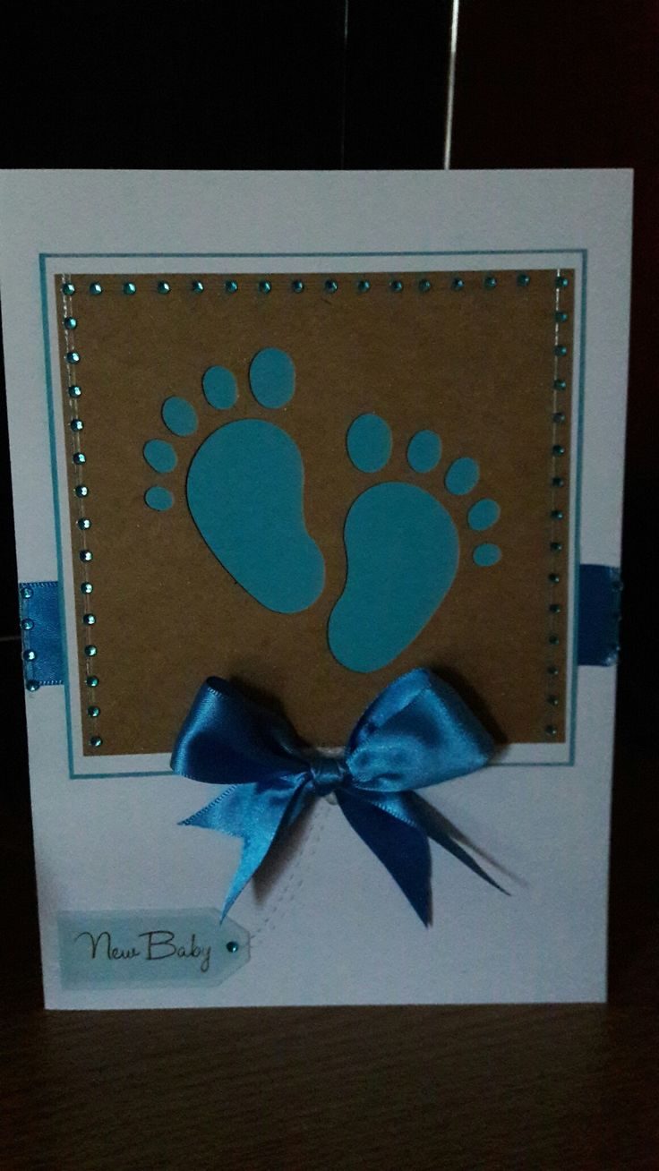 Baby boy card using kanban footprint, ribbon and card. Adding gems around the card to frame it .