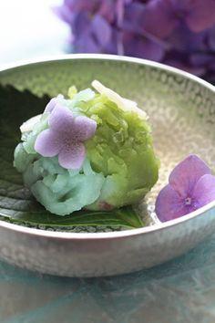 Wagashi - Japanese sweets; of hydrangea theme 紫陽花の和菓子