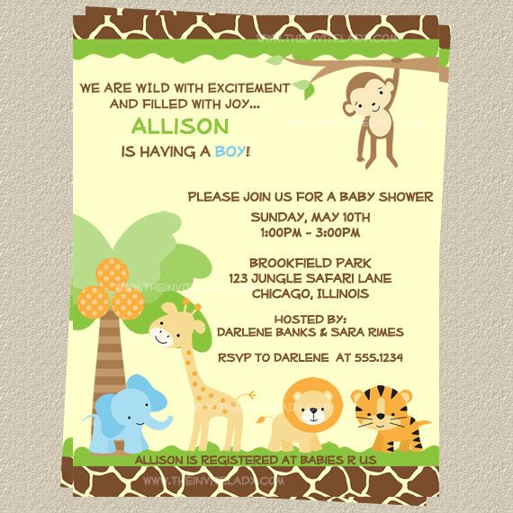 best baby shower invitations images on   animal baby, Baby shower invitation