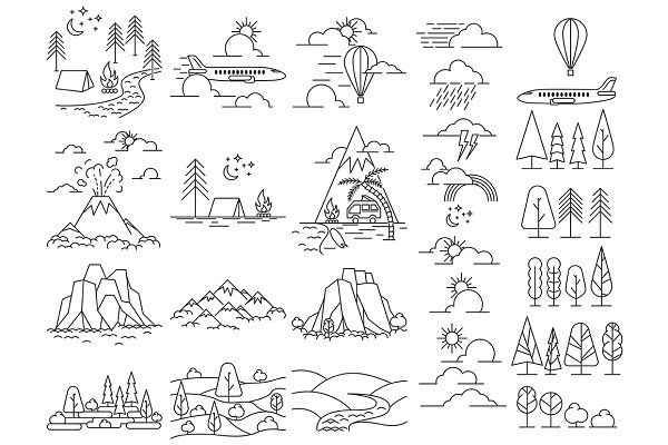 Nature line icon landscapes - Objects