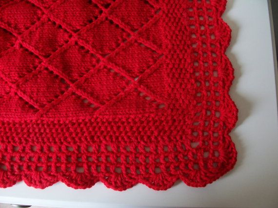 Red Blanket Baby Blanket Red Knit Baby Shower by CreationsMouki