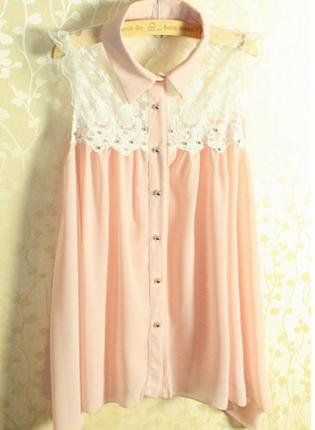 Sleeveless Lace Shirt with Collar for Summer