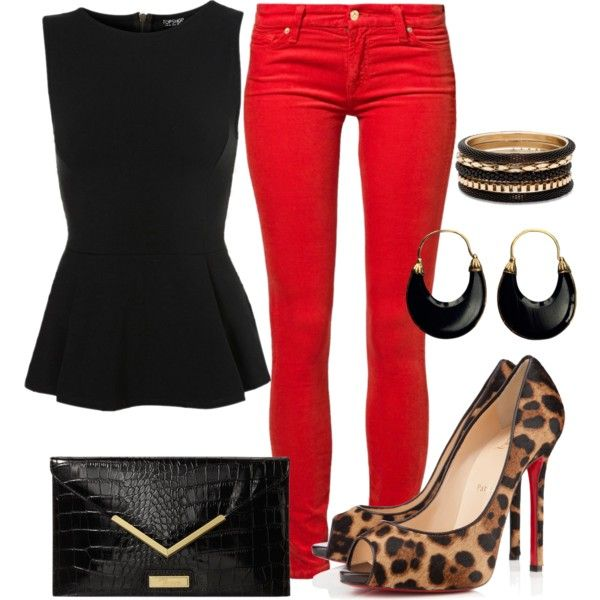 LOVE! Would definitely need to modify, but this combines  a few favorite elements... peplum, animal prints, and RED. #latina