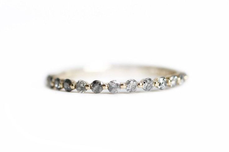 gray diamond pepper band - size 5.5 - yellow gold