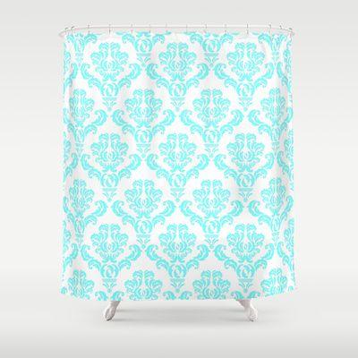 DAMASK AQUA BLUE Shower Curtain