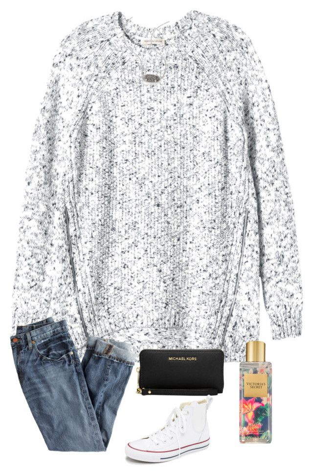 """i went thrifting last night!"" by kellycarrick ❤ liked on Polyvore featuring Rebecca Taylor, J.Crew, Michael Kors, Kendra Scott, Victoria's Secret and Converse"