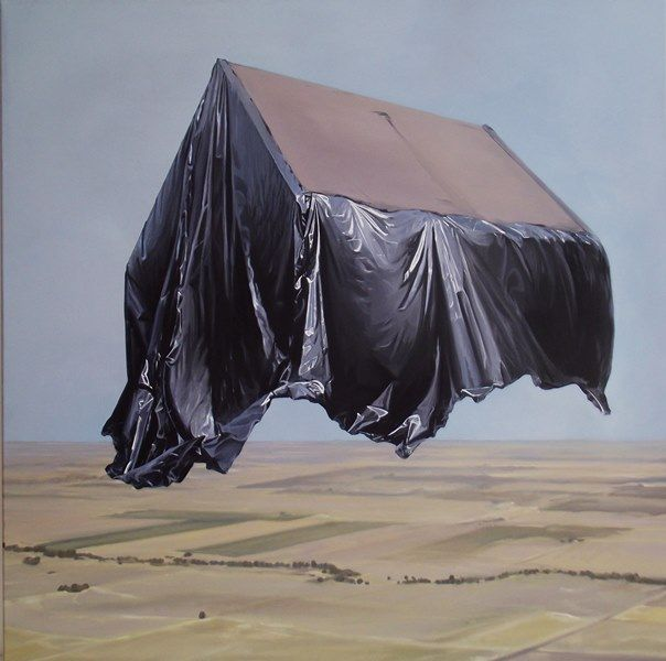 Artist: Zoltán Béla - Real Estate Take Off, (2013), 100 x 100 cm, oil on canvas