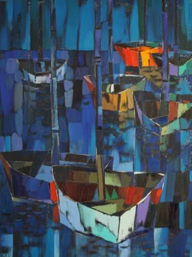 "Saatchi Art Artist Vadim Puyandaev; Painting, ""Night Yachts"" #art"