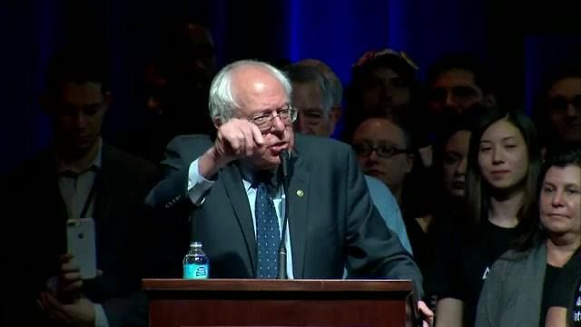 """Sen. Bernie Sanders speaks at the People's Action """"Rise Up: From Protest to Power"""" convention."""