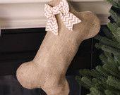 Tela da imballaggio cane osso calza di Natale con fiocco opzionale - Pet calza