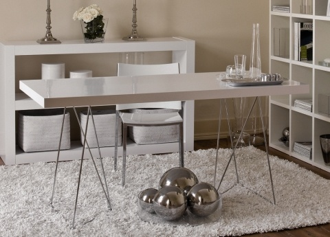 Love this desk: Multi Tables, Tables Legs, Tables Design, Trestle Legs, Kitchens Tables, Dining Spaces, Dining Tables, Offices Furniture, White Kitchens