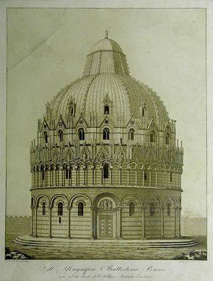Il Magnifico Battisterio Pisano eretto nel XII Secolo, dall ' Italiano Architectto Diotisalvi by Tommaso Barbalonga after Gaetano Ciuti