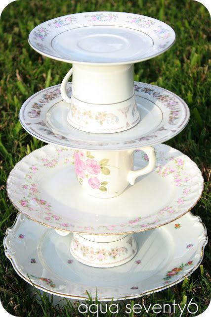 The Vintage Dish Dessert Tower ~ This would be an easy DIY made from mis-matched plates, saucers and tea cups glued together for a shabby chic look!