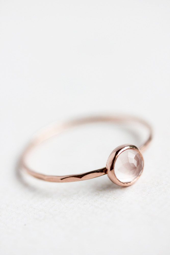Rose quartz and rose gold ring rose cut thin by BelindaSaville, $120.00