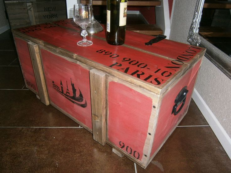 Couchtisch Truhe Tisch Kiste Frachtkiste Holzkiste Minibar Loft New York