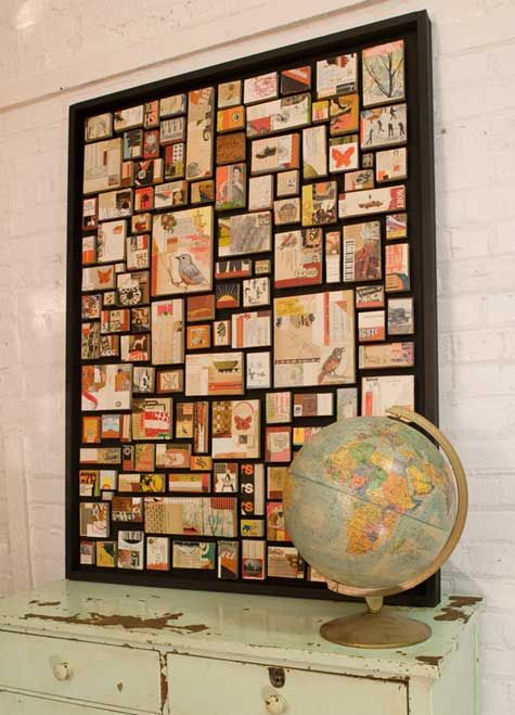 make a piece of wall art from pics trinkets postcards from travels