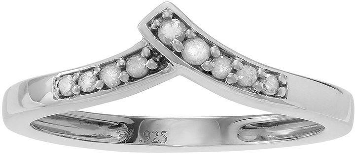 FINE JEWELRY 1/10 CT. T.W. Diamond Sterling Silver Chevron Ring