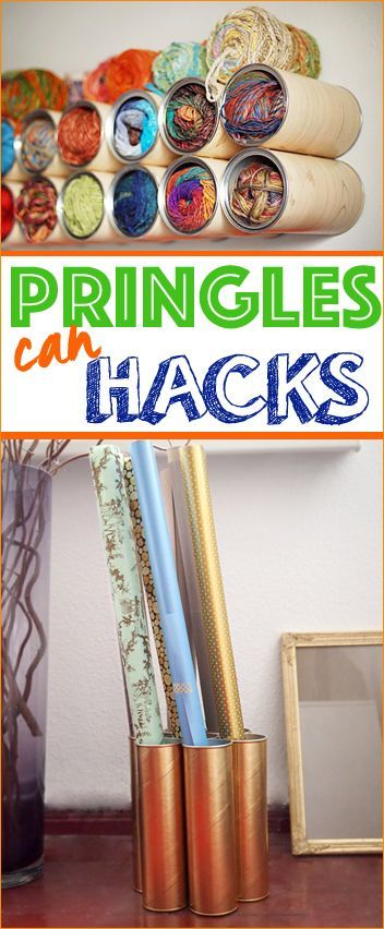 Pringles Can Hacks.  Home Organization Ideas using empty Pringles Cans.