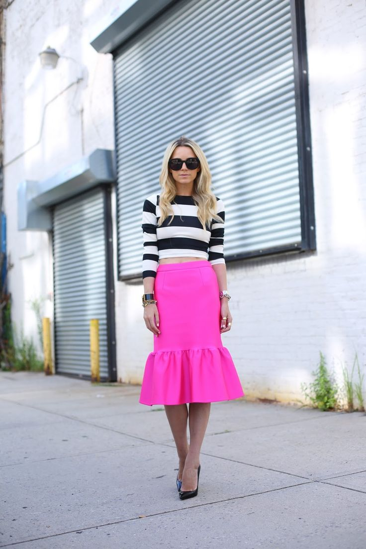 Stripes & Flair: Asos neon pink peplum skirt, Arden B stripe crop top #StreetStyle