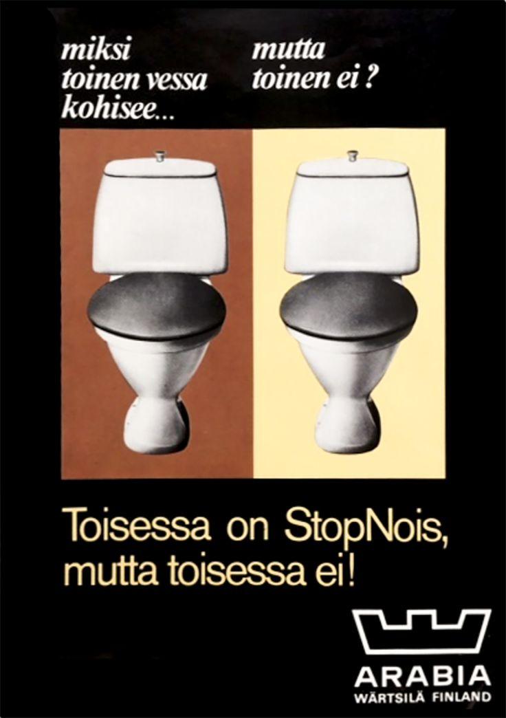 StopNois-mainos vuosien takaa. #bathroom #bathroomdesign #interiordesign #homespa #scandinaviandesign #bathroomideas #bathroomsink #interiordecoration #toilet #factory #sink #finnishdesign #bathroominspiration #ceramics #ceramicsoven #bathroomidea #tap #washbasin #fauset #behindthescenes #sanitary #porcelain #interiorideas #advertisement #history #toiletseat #printad #marketing #advertisement #stopnois