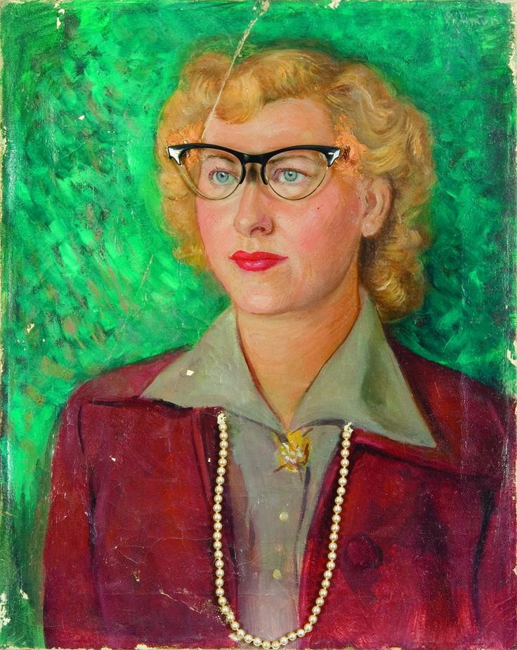 1940 -Une peinture de femme, avec des objets, collier et lunettes incorporés, collection privée © Solo-Mâtine