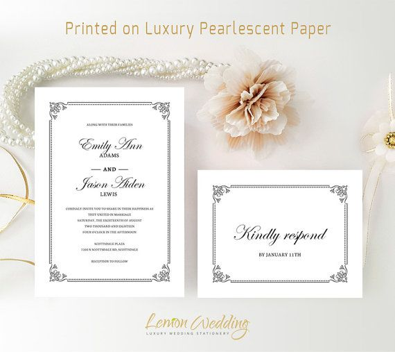 Cheap Wedding Invitation kits printed | Black and white vintage invitations and rsvp postcards sets | Elegant invitations