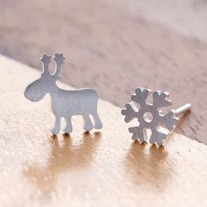 Sterling Silver Snowflake And Reindeer Ear Studs. Discover thoughtful, personal and wonderfully unique jewellery gifts for her this Christmas