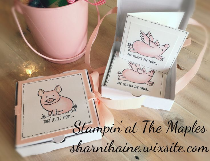Cute piggies in a Mini Pizza Box. Gift cards ready for any occasion.