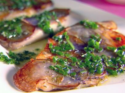 Tilapia with Purple Potato Crust and Chive Rosemary Oil
