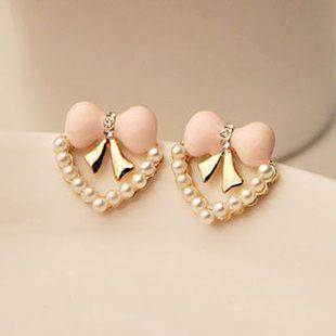 earrings - http://zzkko.com/n232616-orean-version-of-sweet-pink-bow-pearl-heart-earrings-spot.html $7.66
