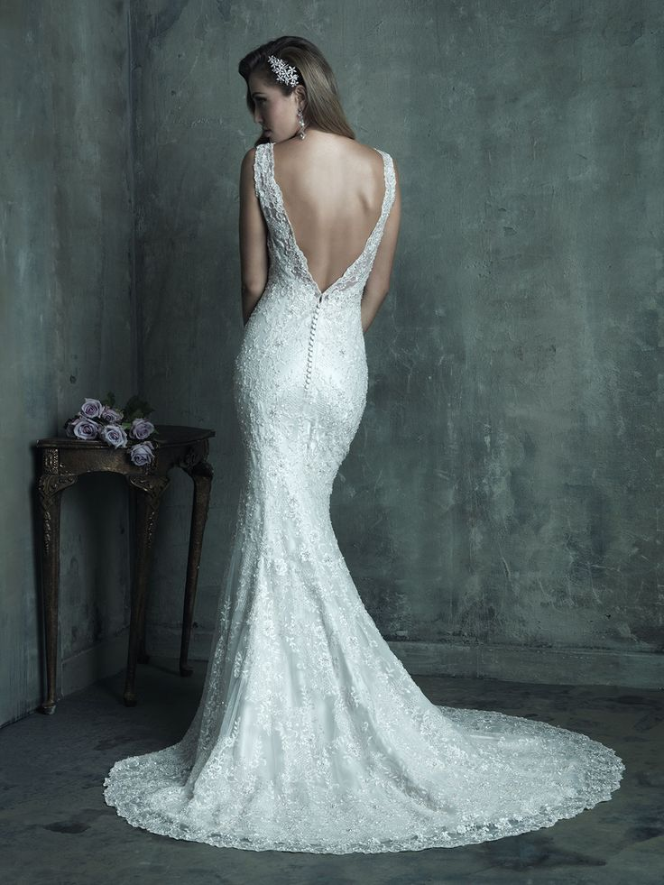 Wedding gown | Bridal dress | Allure Couture | Lace | Subtle train | Deep V back | Style C291