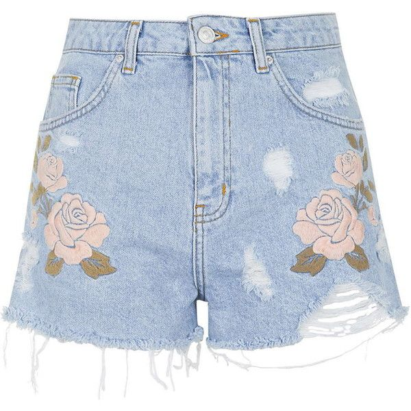 TOPSHOP MOTO Embroidered Mom Shorts ($24) ❤ liked on Polyvore featuring shorts, bottoms, pants, topshop, bleach, bleached shorts, topshop shorts, distressed shorts, ripped shorts and bleached denim shorts