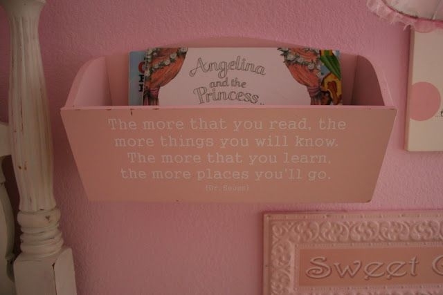a book basket with a quote from Dr. Seuss