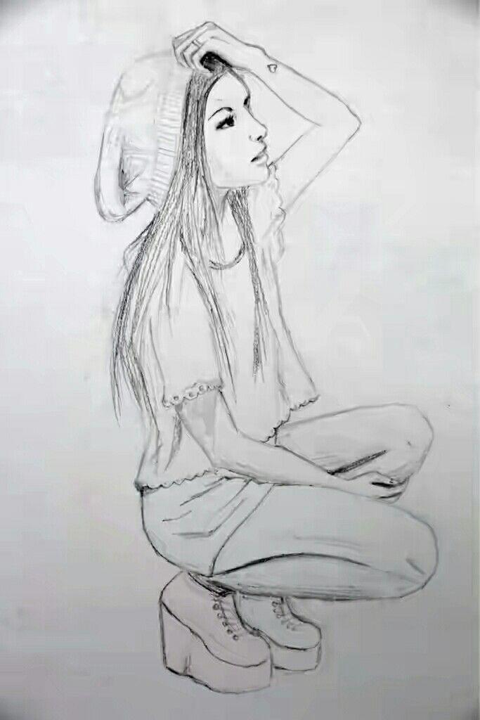 Zeichnung eines sitzenden modernen Mädchens #girl #art #drawing