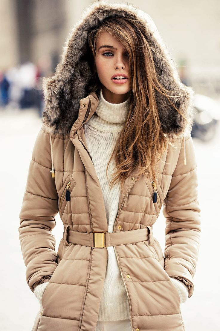Love the fur lined hood and the nude/gold color of this puffer jacket.  I like the belt too to cinch at waste to make it look more feminine & show figure.