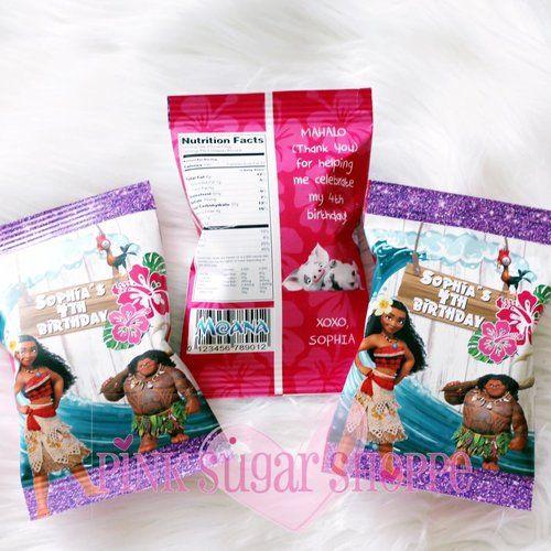 Moana Party - Moana Goody Bags - Moana Custom Chip Bags - Moana Party Theme -Disney Moana - Moana Invitations by Pink Sugar Shoppe