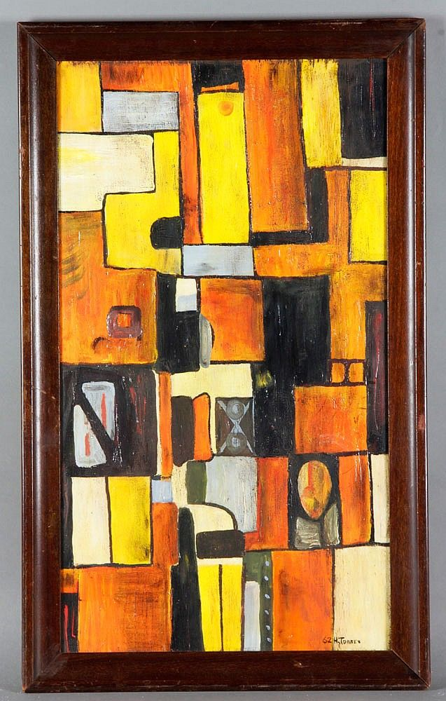 Horacio Torres (1924-1976), abstract in colors, oil on board, signed and dated 62 lower left,