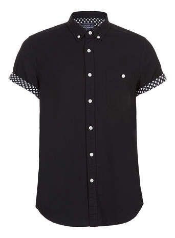 BLACK STARS CONTRAST SHORT SLEEVE SHIRT - Men's Shirts  - Clothing