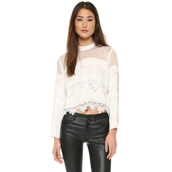 Line & Dot Mademoiselle Lace Top ($125) ❤ liked on Polyvore featuring tops, white, lace top, white top, white embellished top, draped long sleeve top and long sleeve tops