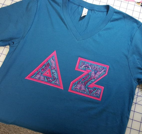 Delta Zeta Letter V-Neck Shirts by BlueFrogTs on Etsy